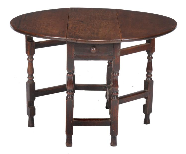 An oak gateleg table , late 17th century, with single drawer to one short end