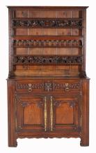 A French chestnut dresser and plate rack superstructure, 18th century and later