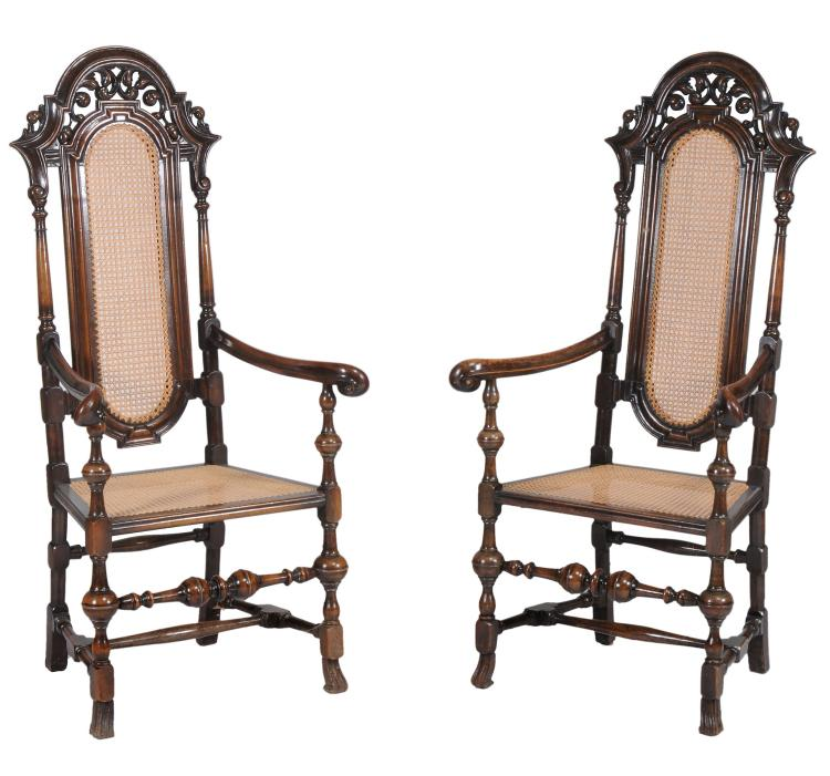 A pair of stained beech chairs in William & Mary style , 20th century