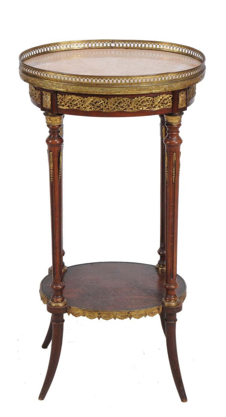 A French gilt metal mounted etagere, early 20th century, 82cm high
