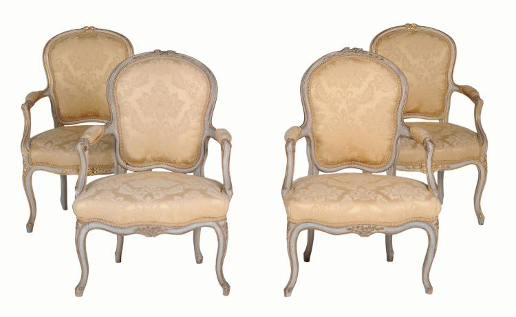 Two pairs of Louis XV painted armchairs , late 18th century, later grey painted