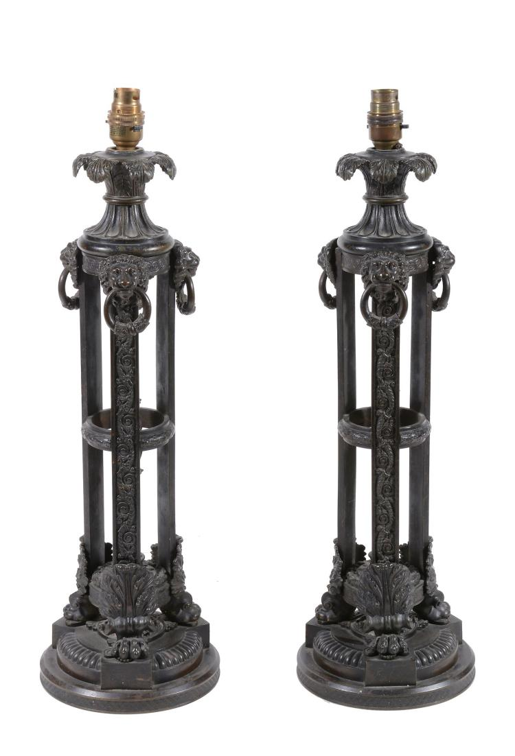 A pair of George IV patinated bronze table lamps, circa 1825
