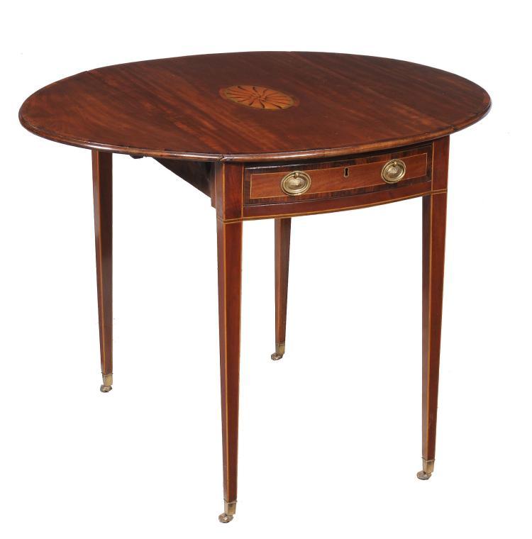 A George III mahogany oval Pembroke table , circa 1790, 69cm high