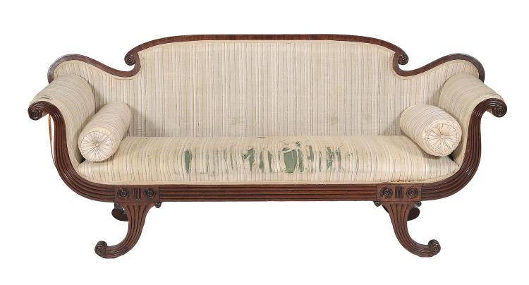 A Regency mahogany and upholstered sofa , circa 1820