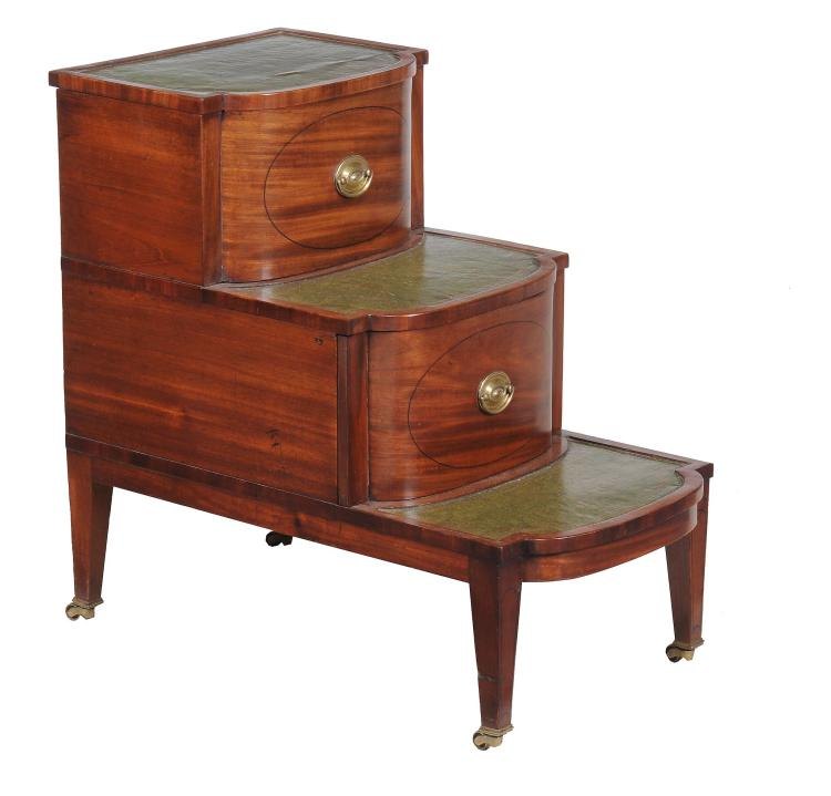 A Regency mahogany bedside commode in the form of library steps , circa 1815