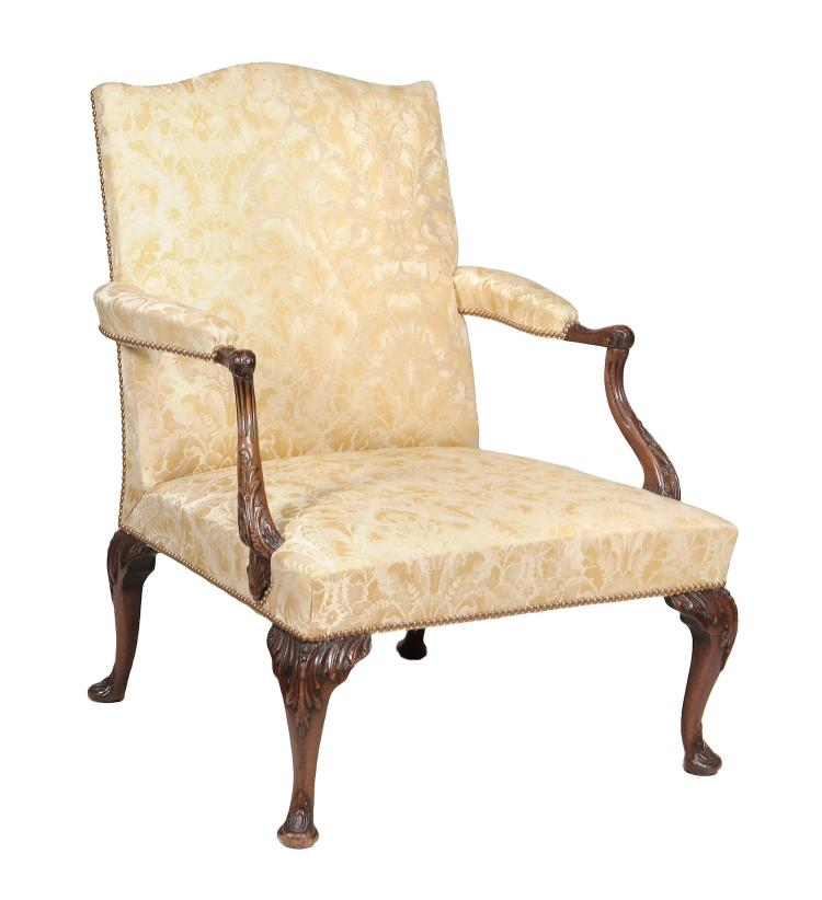 A mahogany library armchair in George II style , early 20th century, 93cm high