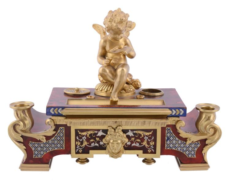 A Continental gilt bronze mounted and Boullework style encrier