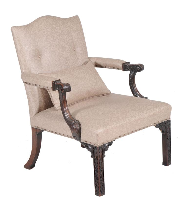 A mahogany armchair in George II style , late 19th/early 20th century