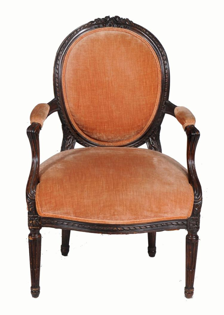 A beech and upholstered chair in Louis XVI style , 19th/ 20th century
