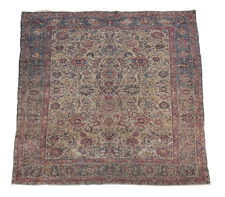 A Tabriz carpet with red & grey overall design, approximately 322cm x 230cm