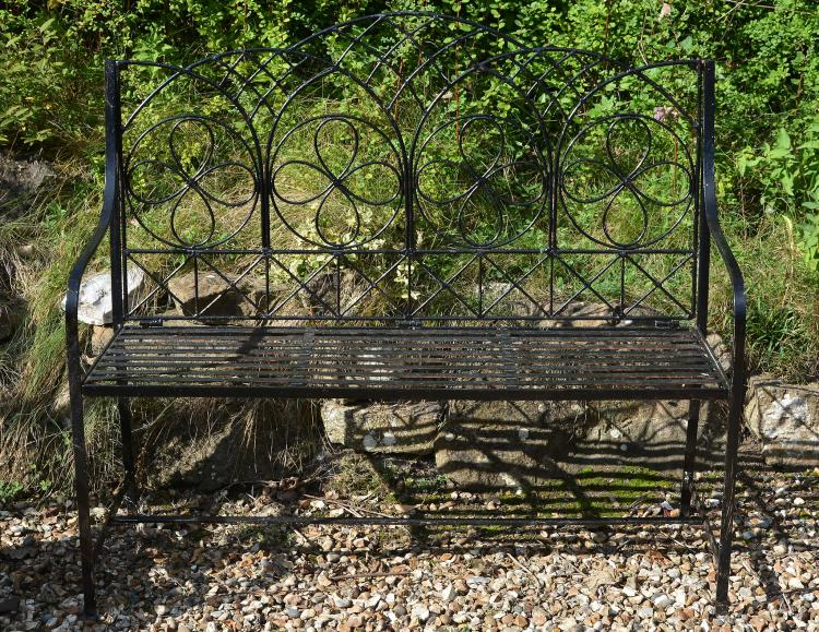 A black painted wrought iron garden seat, second half 20th century