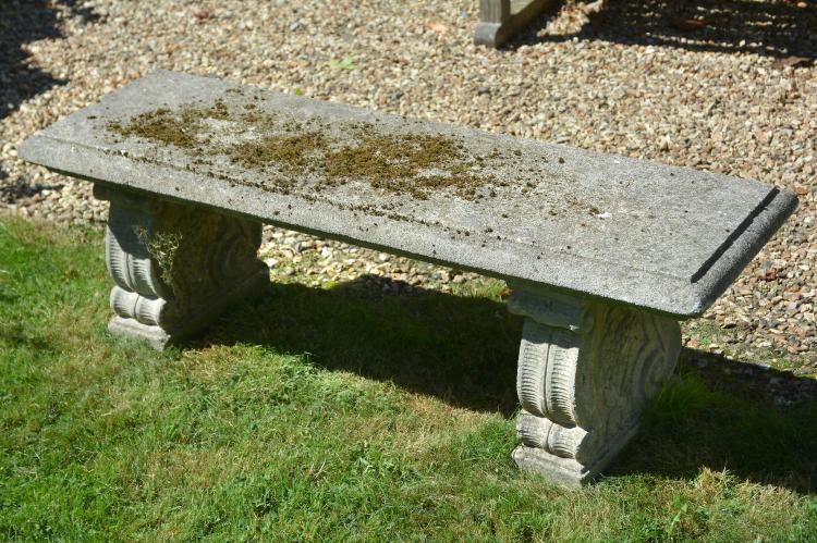 A stone composition garden seat, 20th century