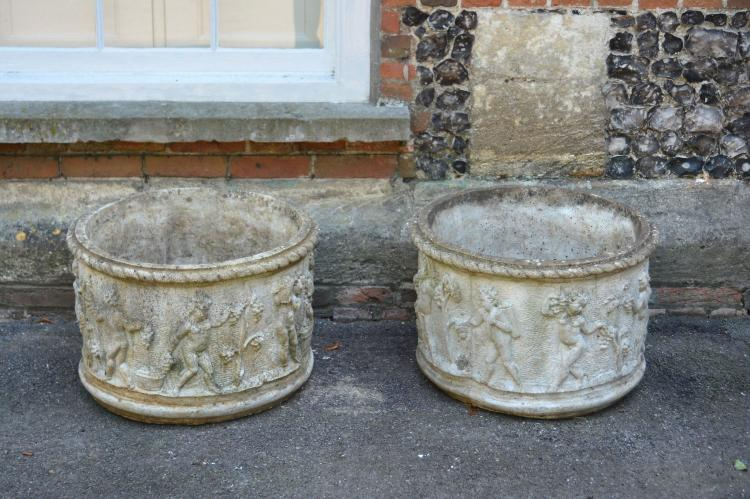 A pair of stone composition garden planters, second half 20th century