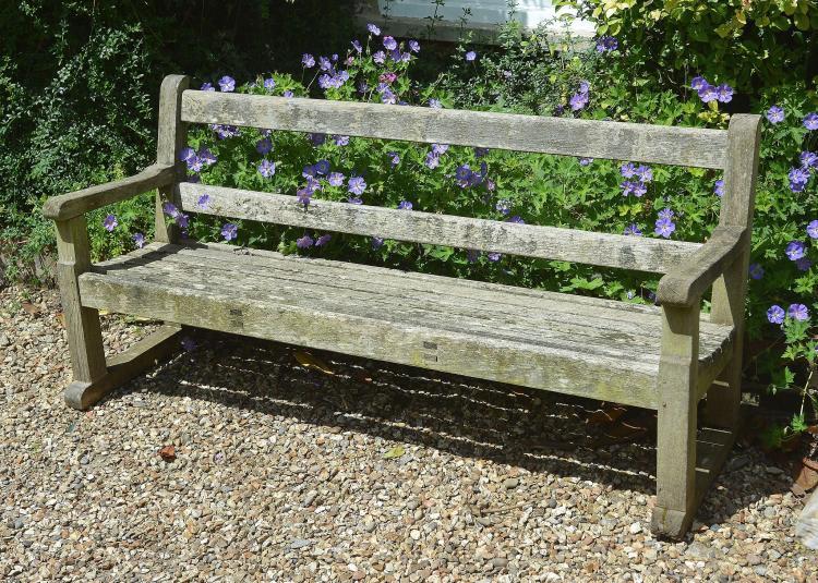 A teak garden bench, second half 20th century