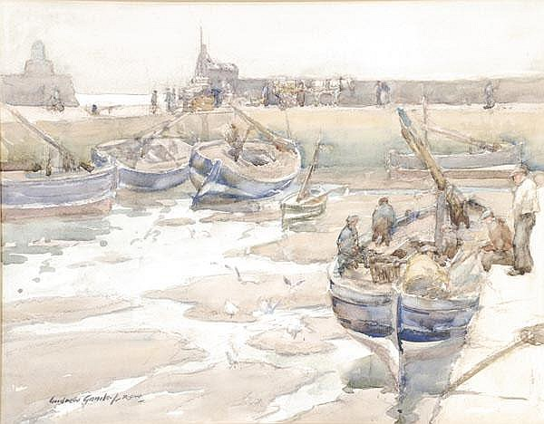 Andrew Archer Gamley (1869-1949) A harbour scene