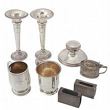 A collection of silver items, to include: a pair of spill vases by Walker &...