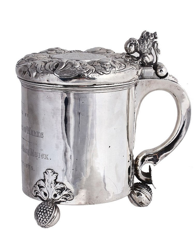A Danish silver peg tankard, maker's mark only, CK conjoined , circa 1700