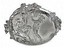 A Jugendstil silvered metal wall plaque by WMF, stamped marks, no