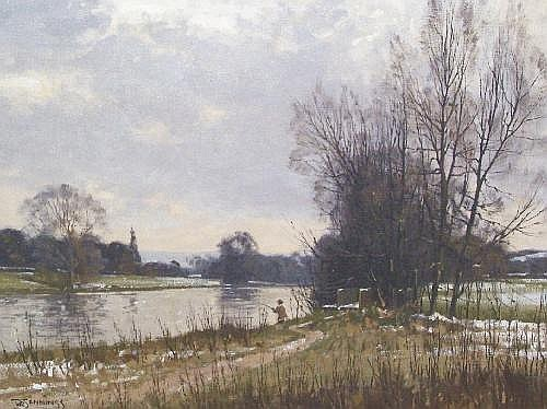 Walter Robin Jennings (b. 1927) 'The Severn in Winter' Oil on canvas Signed lower left Titled to stretcher 50cm x 55cm This lot may be subject to Droit de Suite