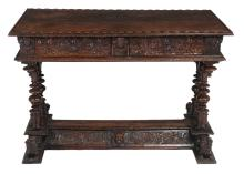 A Franco Flemish walnut side table, late 17th century