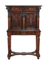 An Augsburg carved oak and specimen marquetry cabinet on stand