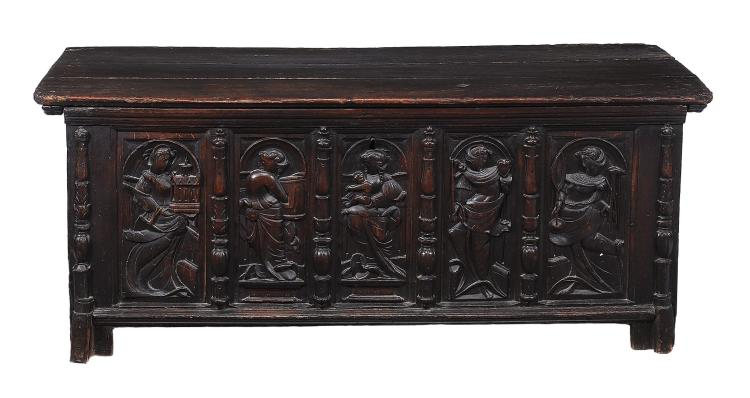 A French oak coffer , 16th century, the hinged plank lid above the five...
