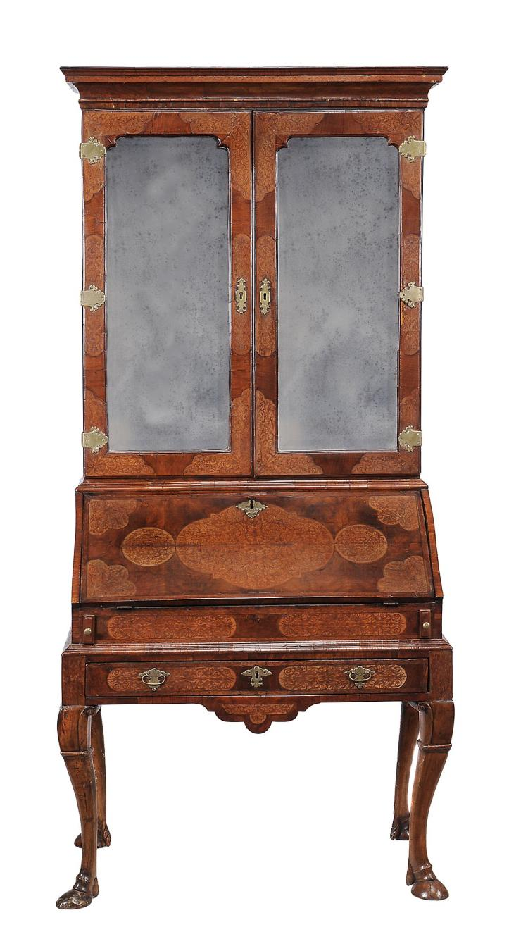 A walnut and seaweed marquetry bureau bookcase , circa 1710 and later