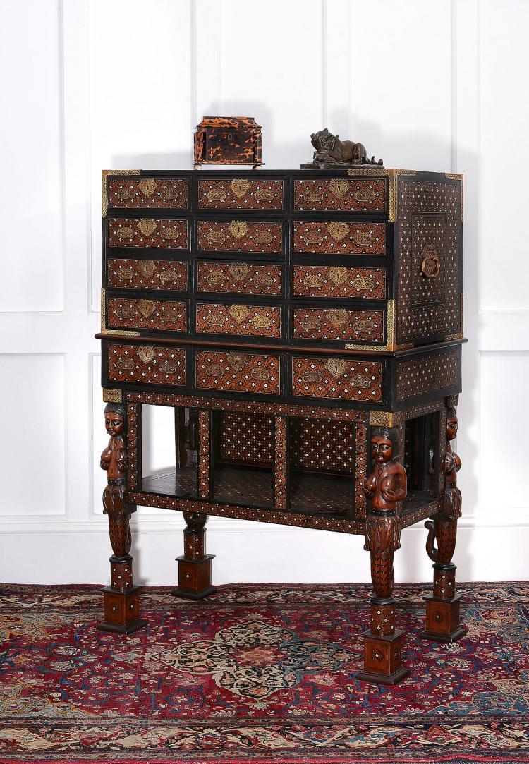 A Goan cedar, ivory and ebony inlaid cabinet on stand , late 17th century