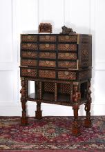 A Goan cedar, ivory and ebony inlaid cabinet on stand , late 17th century