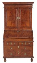 A George I walnut bureau bookcase, circa 1720