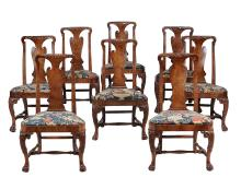A set of eight George II walnut side chairs , circa 1730, possibly Irish