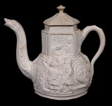 A Staffordshire saltglazed stoneware camel teapot and cover , mid 18th century