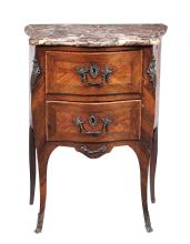 A Louis XV rosewood and tulipwood petit commode by Jean-Charles Ellaume