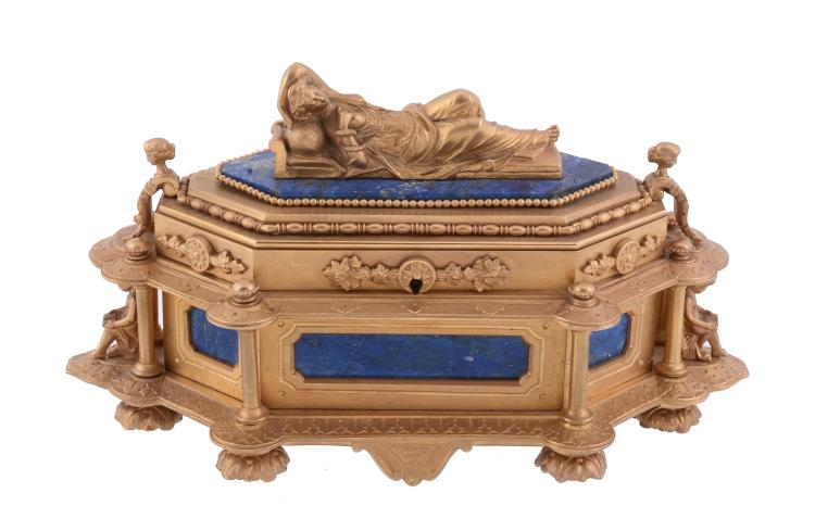 A French gilt bronze and lapis lazuli mounted casket, late 19th century