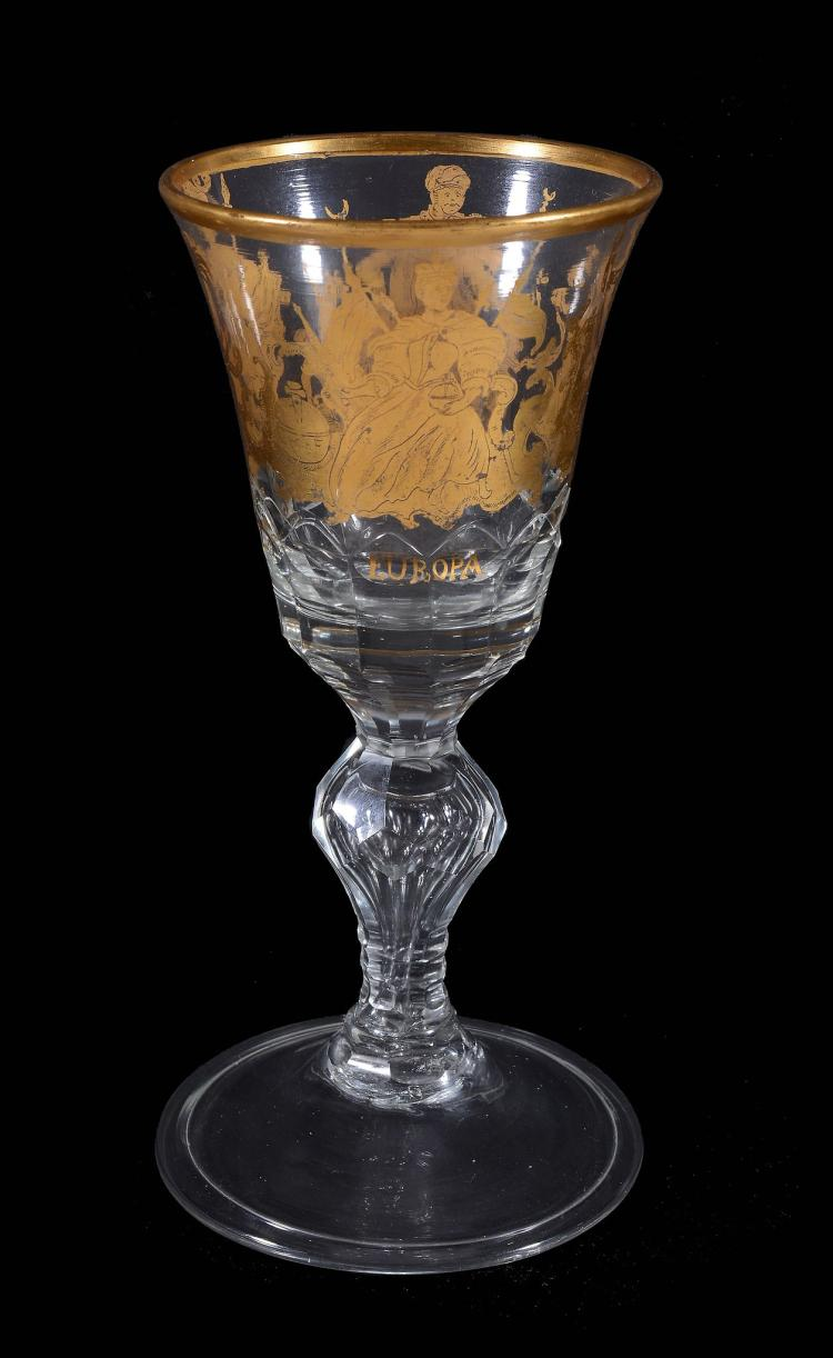 A German clear glass and gilt goblet of the Four Continents , mid 18th century
