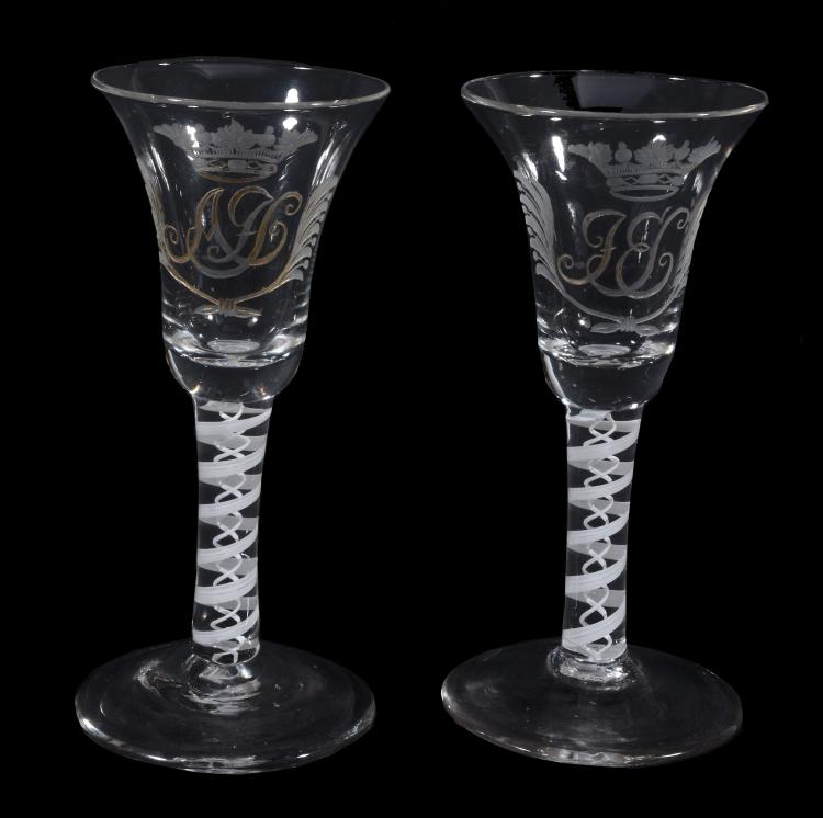A pair of Dutch engraved opaque-twist marriage goblets, circa 1760