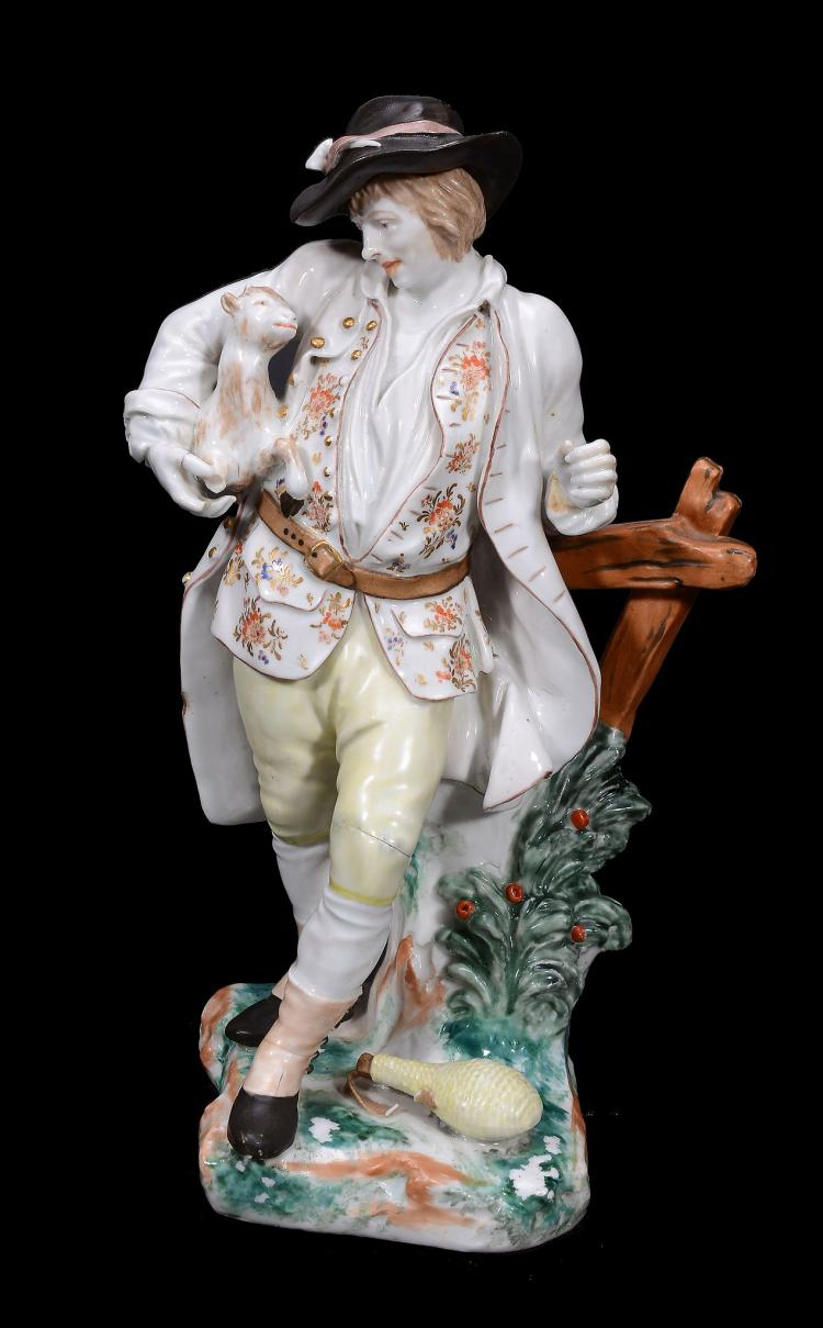 A Bristol porcelain model of a goatherd with kid, circa 1774
