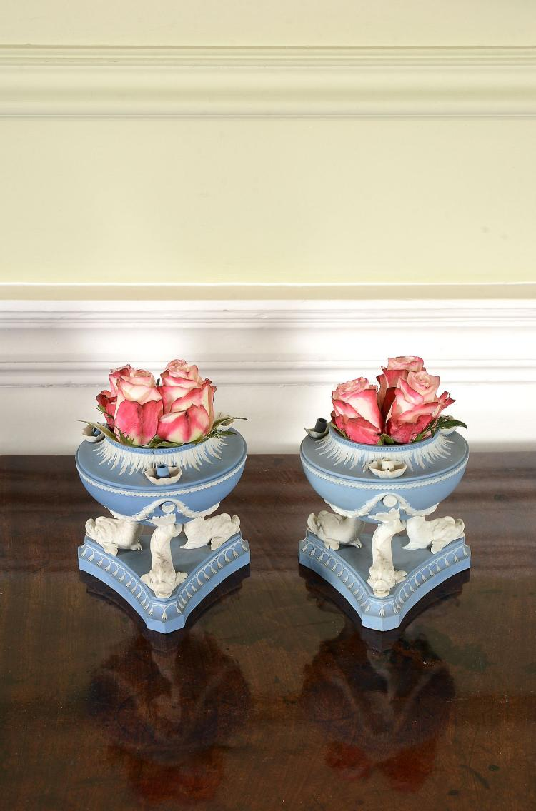 A pair of Wedgwood solid-blue and white jasper dolphin lamps, circa 1790