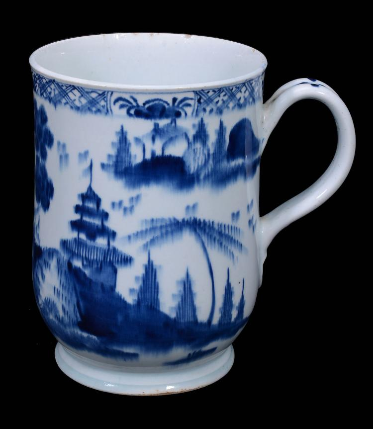 A Bow blue and white porcelain bell-shaped mug, circa 1765