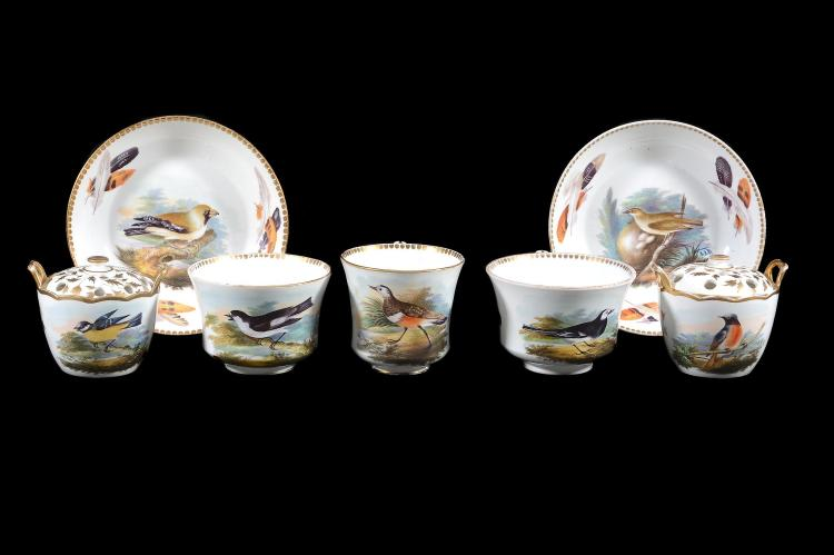 A pair of Wedgwood first period bone china ornithological small two-handled...