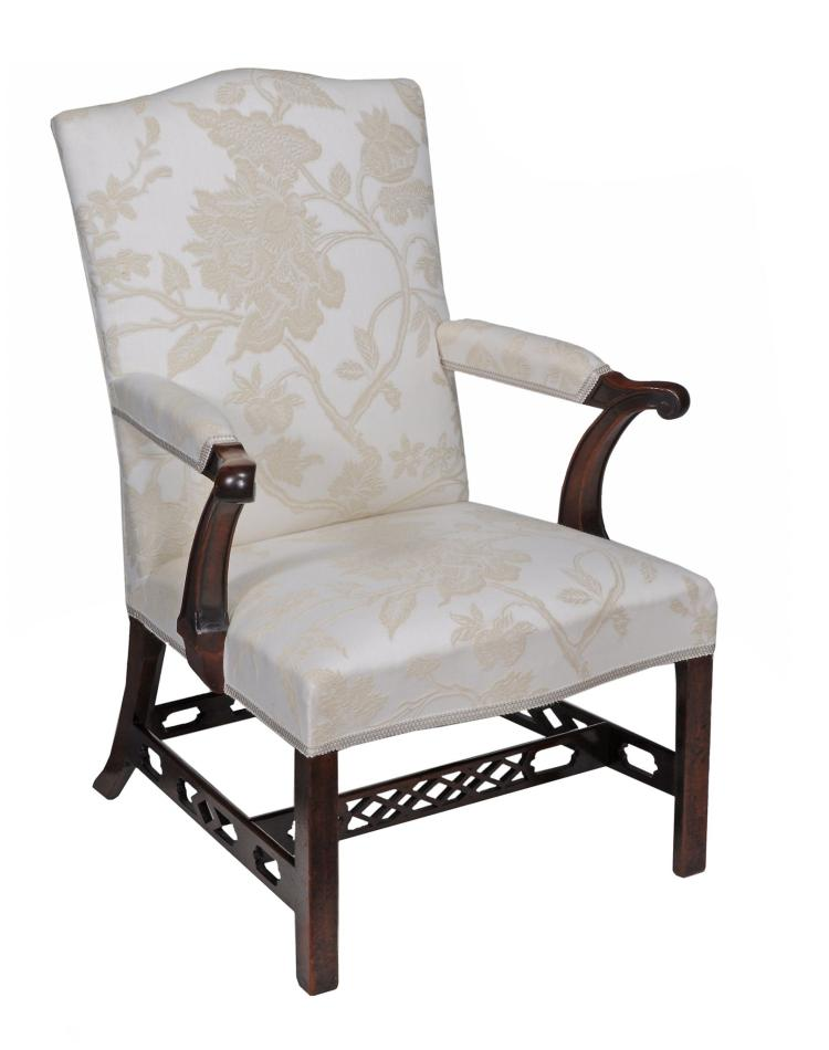 A George III mahogany and upholstered armchair , circa 1770