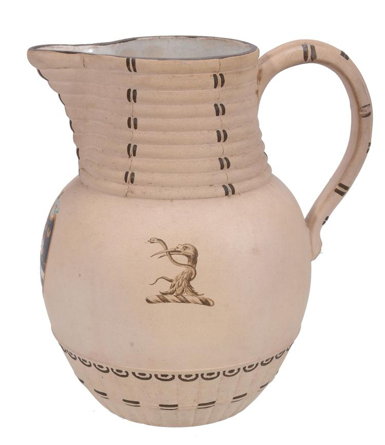 A Wedgwood caneware crested and armorial bamboo jug, circa 1790