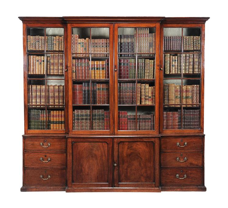 A George III mahogany breakfront library bookcase , circa 1780