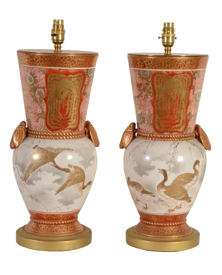 A pair of Japanese Kutani porcelain vases fitted as table lamps