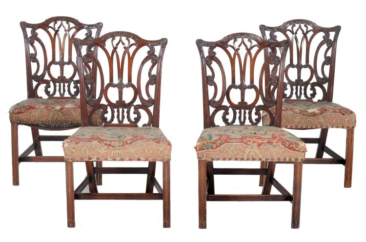 A set of four George III mahogany dining chairs , circa 1760