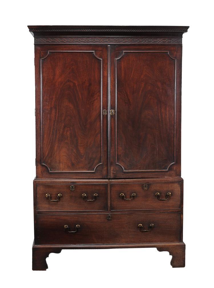 A George III mahogany press cupboard , circa 1760