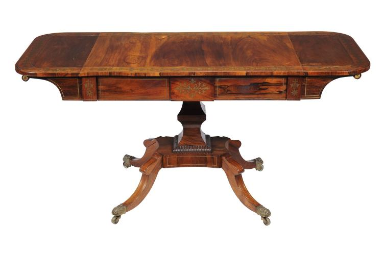 A Regency rosewood and brass marquetry sofa table , circa 1820