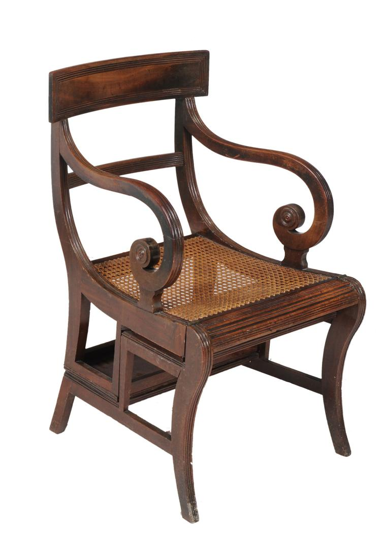 A Regency mahogany metamorphic library armchair, circa 1815