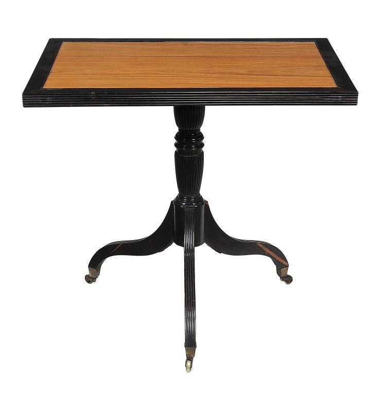A Ceylonese satinwood and macassar ebony tripod table
