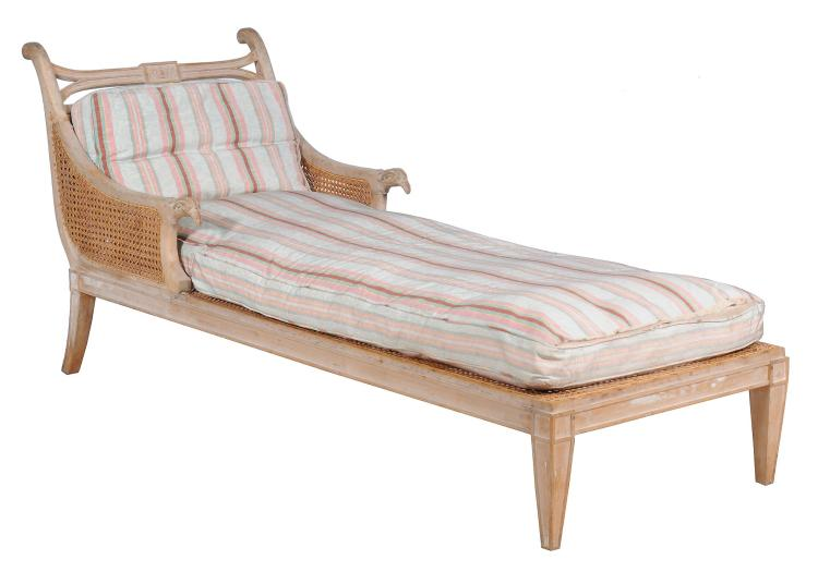 A Empire carved beech day bed , France, circa 1810